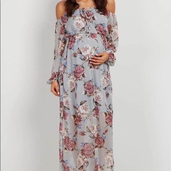 7af38a2e833 Grey Off Shoulder Maxi Dress Maternity. M 5a8af7b43afbbd2bec65ac03